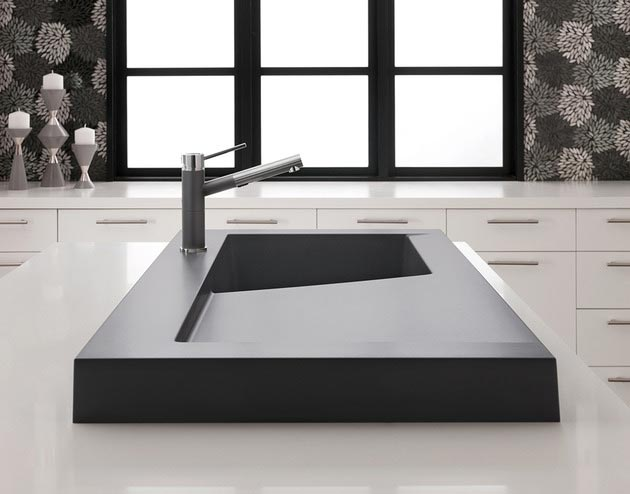 Raised Kitchen Sink Workstation Dual Draining Modex Blanco 1 Side View Thumb 630×494 19193