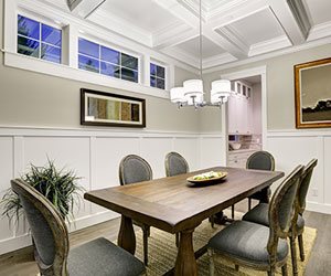 Norburn Lighting and bath, dining-room